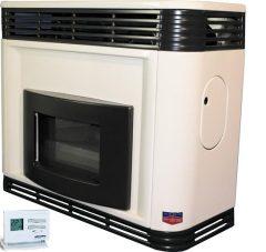 FÉG EXCLUSIVE 4.1s-1PRO parapetes látvány gázkonvektor programozható termosztáttal szögletes díszelemmel parapet nélkül